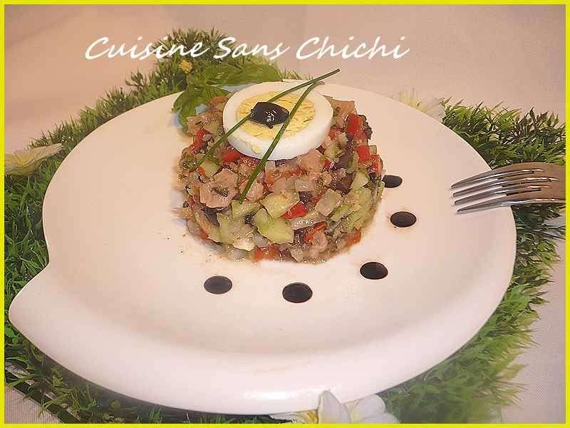 Tartare de legumes au saumon fume